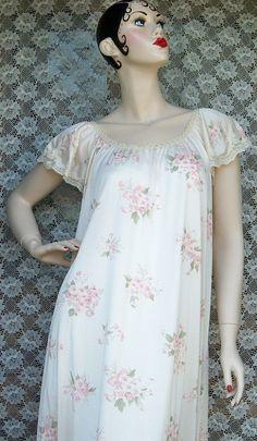 Vintage Ladies Pink Floral Nightgown Negligee by BlackRain4, $34.99