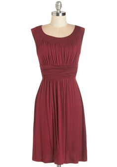 I Love Your Dress in Burgundy - Red, Solid, Casual, A-line, Sleeveless, Knit, Mid-length, Ruching, Variation, Basic, Scoop
