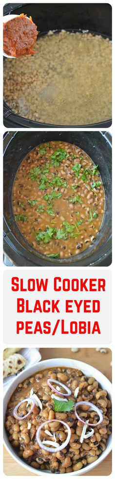 A slow cooker version of lobia/black eyed peas flavored with onion-tomato masala and spices. A perfect accompaniment to Cumin rice.
