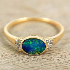Exceptional Gorgeous Black Opal & Diamond Ring 14K Yellow Gold Natural Australian Opal Artisan Jewelry by Anderson-Beattie.com #opalsaustralia