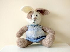 Knitted Rabbit in Soft Baby Alpaca Yarn Hand Knitted Animal