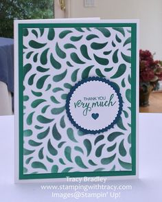 Such an easy card to make using the Seasonal Decorative Masks by Stampin' Up!    Tracy Bradley  www.stampingwithtracy.com