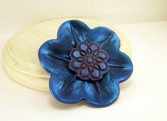 Large Shimmery Blue Flower Brooch Pin, Polymer Clay Jewelry, Handmade by BobblesByCarol, $18.00 USD