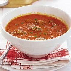 Recept - Paprika-tomatensoep met ballen - Allerhande