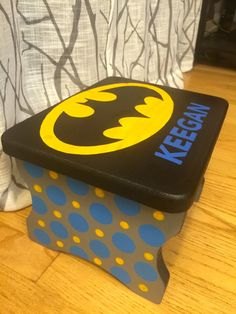 Hand Painted Batman Stool for Boys or Girls with by JCraftDesigns