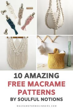 Discover 10 new and exciting DIY Macrame projects by Soulful Notions! From plant hangers to purses and keychains, these free patterns are perfect for beginners and will teach you step-by-step how to get started with Macrame. #macrame #macrameforbeginners Macrame Plant Hanger Patterns, Free Macrame Patterns, Macrame Plant Hangers, Craft Projects For Adults, Diy Craft Projects, Craft Tutorials, Sewing Projects, Macrame Supplies, Macrame Projects