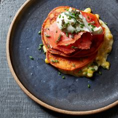 Get Food & Wine's recipe for red pepper pancakes with smoked salmon and caviar from star chef Jonathan Waxman of NYC's Jams and Barbuto.