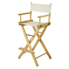 """Bar Height (30"""") Premium Made In USA American Oak Director Chair Frame $54.99  Wood and manufacturing process both in USA makes our already perfected director's chair all the more sturdy and durable. With thicker legs and arm rest, and your choice of colorful canvas backing and seating. Colors Available: White, Black, Mission Oak.  Weight (lb) 18.0000 Dimensions (in) 45 x 20.75 x 16  #Director #chairs #furniture #casualhome #bar #height"""