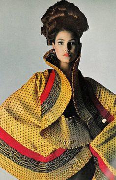 Benedetta Barzini in a brilliant colored silk shawl by Mr. John, photo by Bert Stern for Vogue, 1965 vogue, vintag, silk, fashion, shawl, 1960s, benedetta barzini, 1965, bert stern