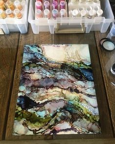 I went totally loose this morning and simply played without any intention of creating anything I'd like. This is actually on the backside of a scrap piece that I couldn't save. This piece reminds me of a geode or layers of rock.