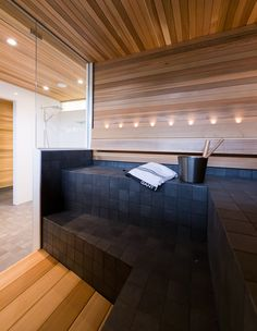 22 Sauna Ideas with Soothing Nuances that You Can Try - TopDesignIdeas Home Spa Room, Spa Rooms, Sauna Steam Room, Sauna Room, Dream Home Design, House Design, Design Design, Modern Saunas, Sauna Design