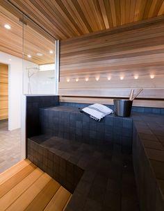 Sauna, kivat värit mutta laittaisin laatat seiniin ja puuta lauteisiin