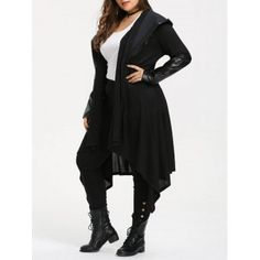 Faux Leather Panel Plus Size Asymmetric Long Coat