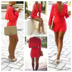 Coral Pink Girlfriend Romper - Outfits #JaideClothing