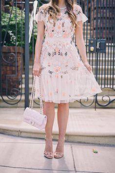 Gal Meets Glam Needle & Thread dress, Stuart Weitzman heels, and Chanel bag