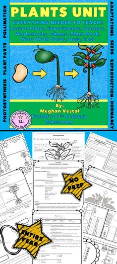 EVERYTHING you need to teach a science unit on the plant life cycle, plant reproduction, and plant adaptations can be found here, in this 2 week, 70 page plant unit!