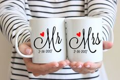 """These Mr and Mrs mugs make a sweet personalized gift for the newlyweds. """"Mr and Mrs"""" set of 2 coffee mugs. Wedding Gifts For Newlyweds, Creative Wedding Gifts, Bride And Groom Gifts, Great Wedding Gifts, Newlywed Gifts, Personalized Wedding Gifts, Wedding Present Ideas For Couple, Perfect Wedding, Couple Mugs"""