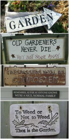 Sign Idea Gallery A whole collection of fun garden signs. Old gardeners never die, they just spade away!A whole collection of fun garden signs. Old gardeners never die, they just spade away! Garden Crafts, Garden Projects, Greenhouse Plans, Large Greenhouse, Outdoor Greenhouse, Garden Quotes, Sign Quotes, Outdoor Projects, Garden Planning