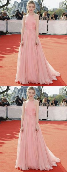 Pink chiffon long prom dress, pink evening dress for teens