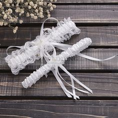 Beige Satin and Lace Wedding Garter Set with Ribbon and Flower