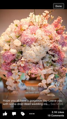 Wedding flowers, table decoration or freestanding flowers. Whites and pinks. To suit vintage or shabby chic theme. Wedding Flower Arrangements, Wedding Centerpieces, Floral Arrangements, Wedding Decorations, Centerpiece Ideas, Table Centerpieces, Wedding Themes, Wedding Blog, Wedding Ideas