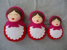 Three Felt Russian Dolls  FREE SHIPPING US by Tuscanycreative