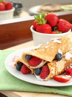 Paleo Coconut Crêpes With Mixed Berries #paleo