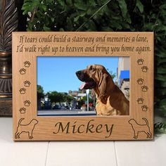 Memorial Bloodhound Dog Picture Frame