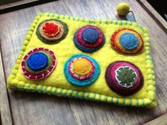£7.00 Felt Purse, Yellow with Applique Circles - handmade using traditional felt-making techniques by Fair Trade artisans in Nepal.