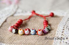 Clifford cat-Original handmade ethnic style bracelet -Korean pine Stone  - personalized jewelry gift of friendship Children's Day gift