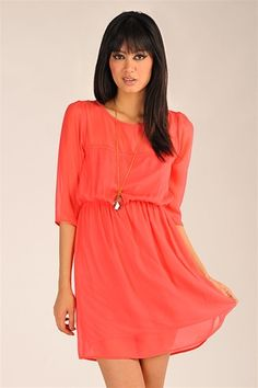 Mother Chiffon Dress - Coral    (closest I've found to my Modcloth deep coral/strawberry colored dress)