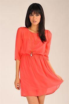 Mother Chiffon Dress - Coral