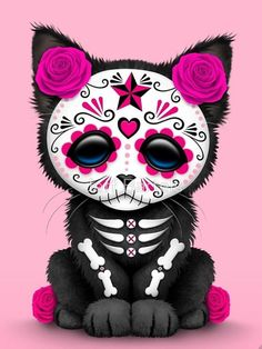 Pink Day of The Dead Kitten Cat