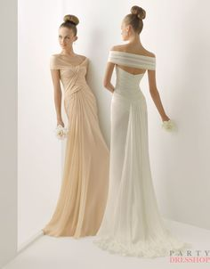 A-line off-the-shoulder sweep train soft chiffon champagne Bridesmaid Dresses  BDMS0022 >> Available in Grape too LOVE