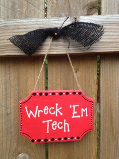 Texas Tech Wreck 'Em Hand Painted Sign on Etsy, $12.50