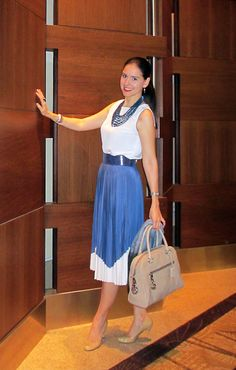 Blue and White Pleated Midi Dress, Cole-Haan Belt, Beige Karolina Pumps by Kate Spade, Oscar de la Renta Shawl, and Michael Kors Bag. Dinner Outfit.