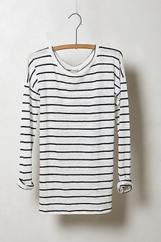 Slim Striped Linen Pullover #anthropologie  Classic, can't go wrong. Linen-nice & lighter than cotton.