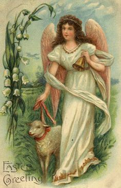 Lovely Antique Easter Greetings ~ Sweet Angels