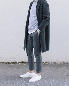 40 Amazing Casual Outfits with White Sneakers for Handsome Man Winter Outfits, Casual Outfits, Men Casual, Fashion Outfits, Fashion Ideas, Sneakers Outfit Summer, Sneakers Fashion, Look Street Style, Scandinavian Fashion