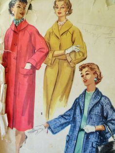 Vintage McCall's 3364 Sewing Pattern, 1950s Coat Pattern, Raglan Sleeves Shawl Collar Car Coat, 1950s Sewing Pattern Bust 34, Vintage Sewing by sewbettyanddot on Etsy