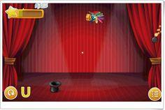 """""""El sombrero mágico de las vocales"""" es un juego, de aprenderjugando.cl, para los más pequeños en el que hay que llevar el sombrero a derecha e izquierda para atrapar aquellas imágenes que contengan la vocal indicada abajo. No atrapar las bombas. No funciona en Chrome."""