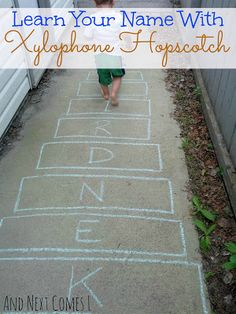 Outdoor music fun for toddlers and preschoolers with xylophone hopscotch - a great way to work on name recognition! Gross Motor Activities, Movement Activities, Spelling Activities, Outdoor Activities For Kids, Music Activities, Preschool Activities, Play Based Learning, Toddler Learning, Toddler Preschool