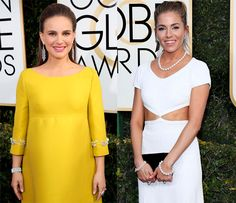 Natalie Portman wearing Tiffany's fringe diamond earrings, white and yellow diamond ring and Tiffany archival platinum and diamond bracelet. Sienna Miller sports the Tiffany classic pearls and diamond earrings.
