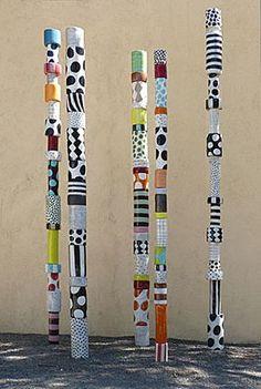 Des batons de bambou (ou autres branches de bois) à customiser pour donner une touche arty à son extérieur