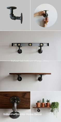 DIY Industrial Wall Shelves:Today we are presenting you some fabulous and interesting ways to build DIY shelves plans step by step for your home décor. Industrial Shelving Units, Industrial Interior Design, Vintage Industrial Decor, Industrial House, Industrial Style, Industrial Bathroom, Industrial Pipe, Industrial Furniture, Industrial Wallpaper