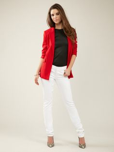 Seven for All Mankind Roxanne Squiggle Skinny Jean with black top and red blazer. love the look