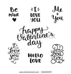 Vector Valentines day photo overlays, handdrawn lettering collection, love and romantic phrase. Be mine, I love you, me and you, Happy valentines day, hello love on white background