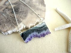Amethyst Necklace, Amethyst Slice Druzy Necklace, Sterling Silver Chain Necklace, Amethyst Stalactite Necklace, Geode Necklace, Gift For Her by GemJewelrybyHWestNY on Etsy