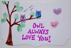 Thumbprint Owl Valentine's Day Card