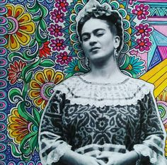 Frida by Vix Harris Designs. Vicky creates intricate, colourful patterns around strong, female icons.